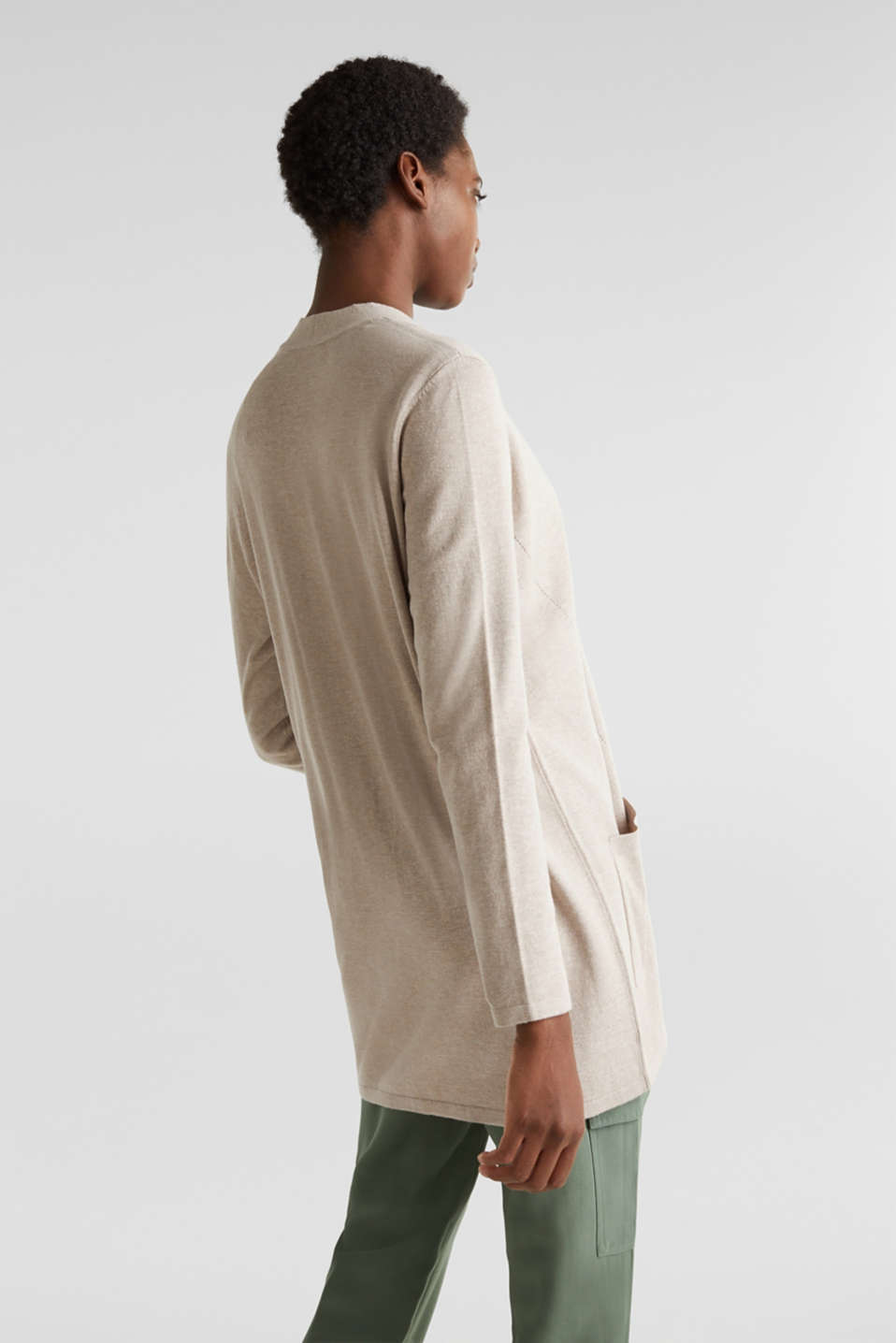 With linen: open cardigan with open-work pattern details, BEIGE 5, detail image number 2
