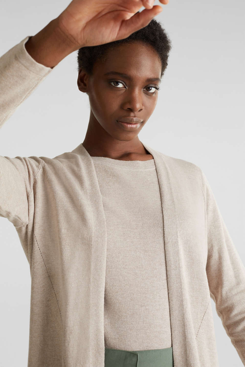 With linen: open cardigan with open-work pattern details, BEIGE 5, detail image number 5