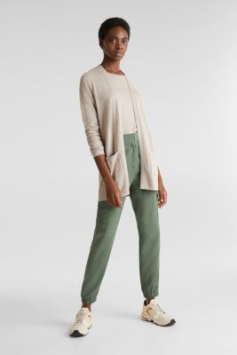 With linen: open cardigan with open-work pattern details, BEIGE 5, detail