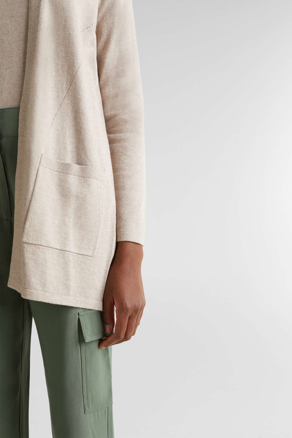 With linen: open cardigan with open-work pattern details, BEIGE 5, detail image number 4