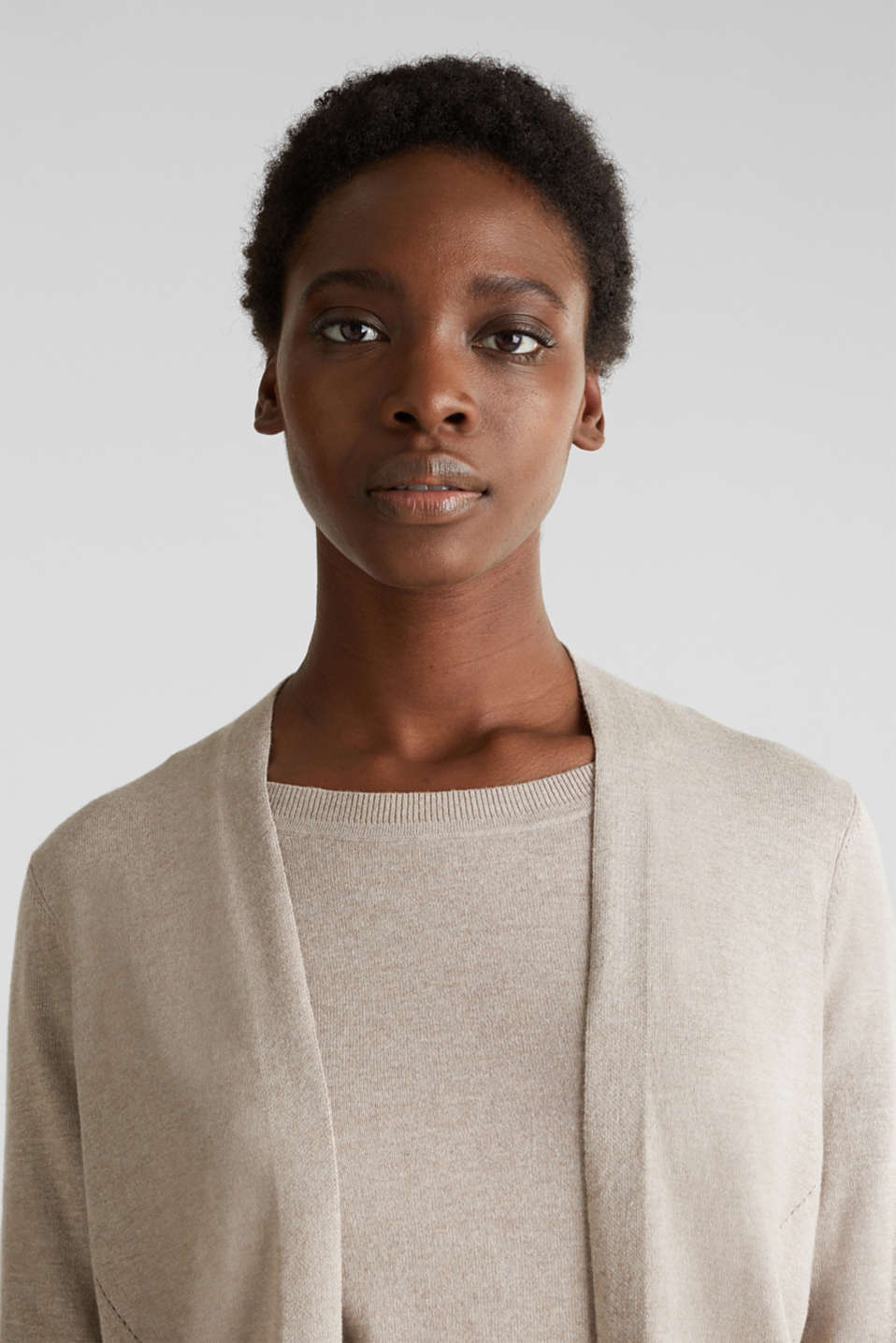 With linen: open cardigan with open-work pattern details, BEIGE 5, detail image number 6