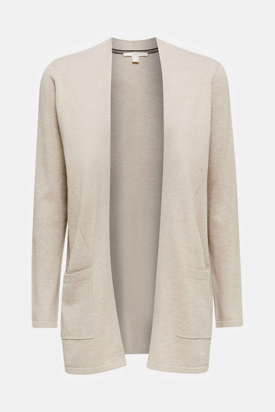 With linen: open cardigan with open-work pattern details, BEIGE 5, detail image number 7