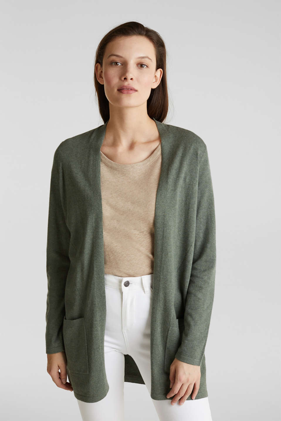 With linen: open cardigan with open-work pattern details, KHAKI GREEN 5, detail image number 0