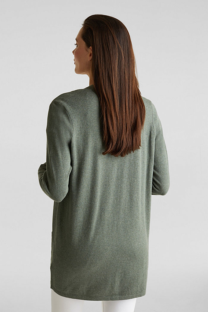With linen: open cardigan with open-work pattern details, KHAKI GREEN, detail image number 3