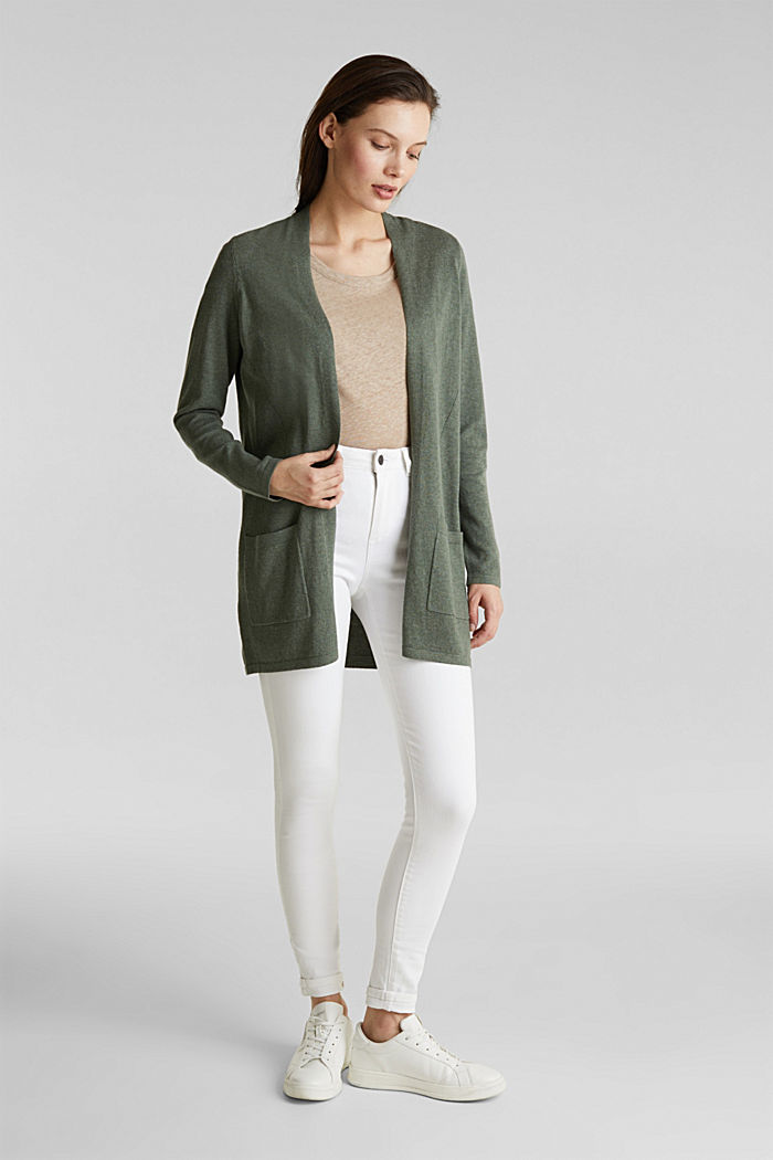 With linen: open cardigan with open-work pattern details, KHAKI GREEN, detail image number 1