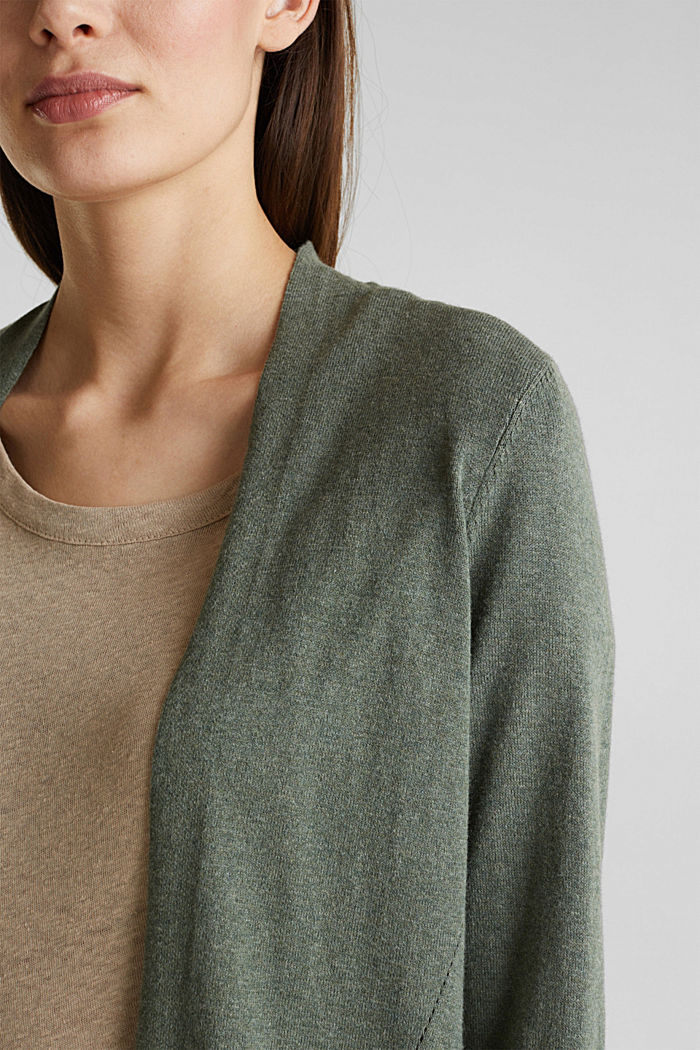 With linen: open cardigan with open-work pattern details, KHAKI GREEN, detail image number 2
