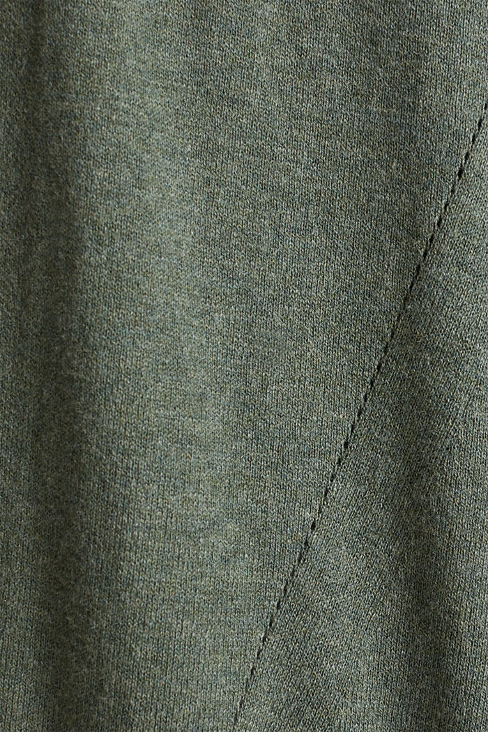 With linen: open cardigan with open-work pattern details, KHAKI GREEN, detail image number 4