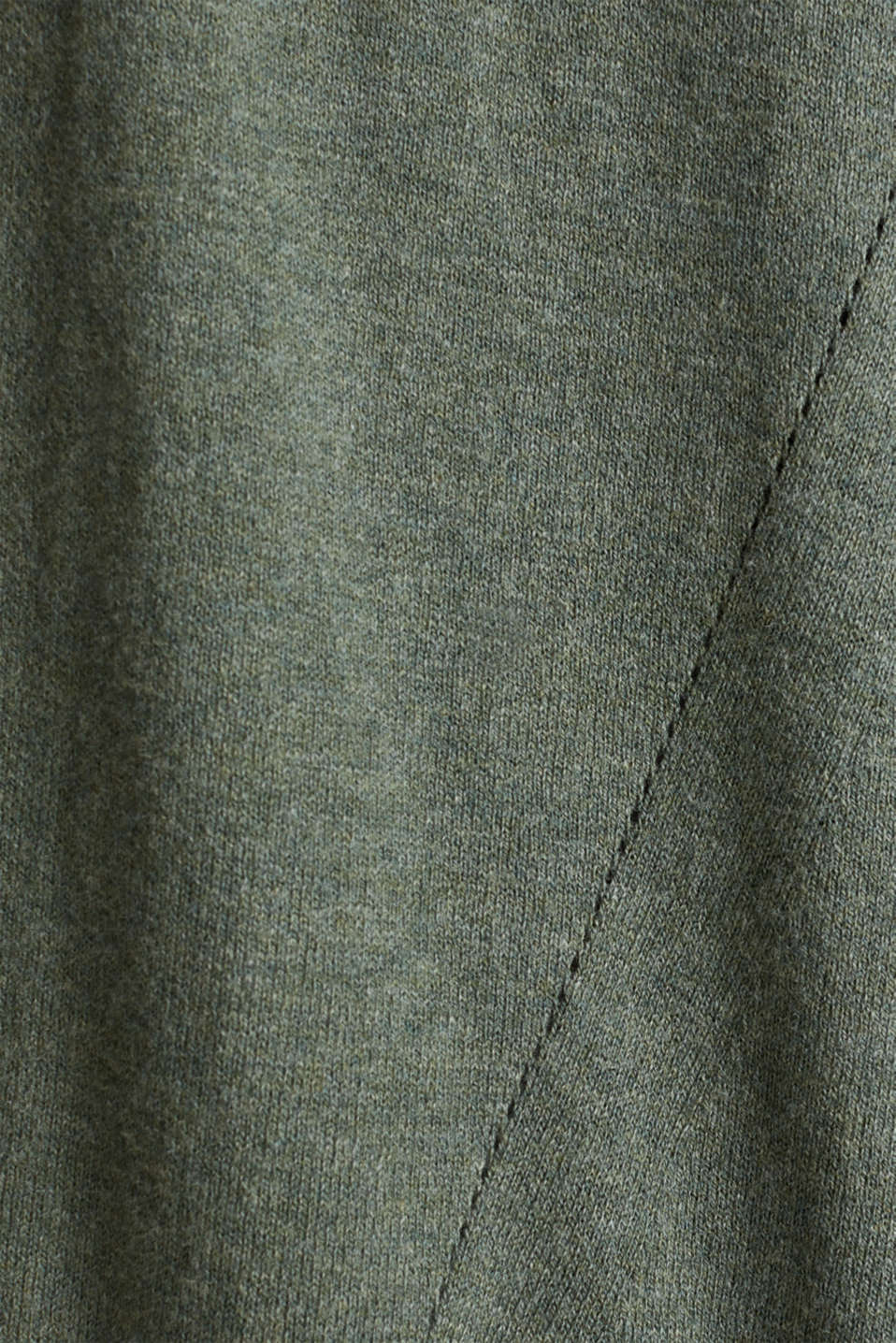 With linen: open cardigan with open-work pattern details, KHAKI GREEN 5, detail image number 4