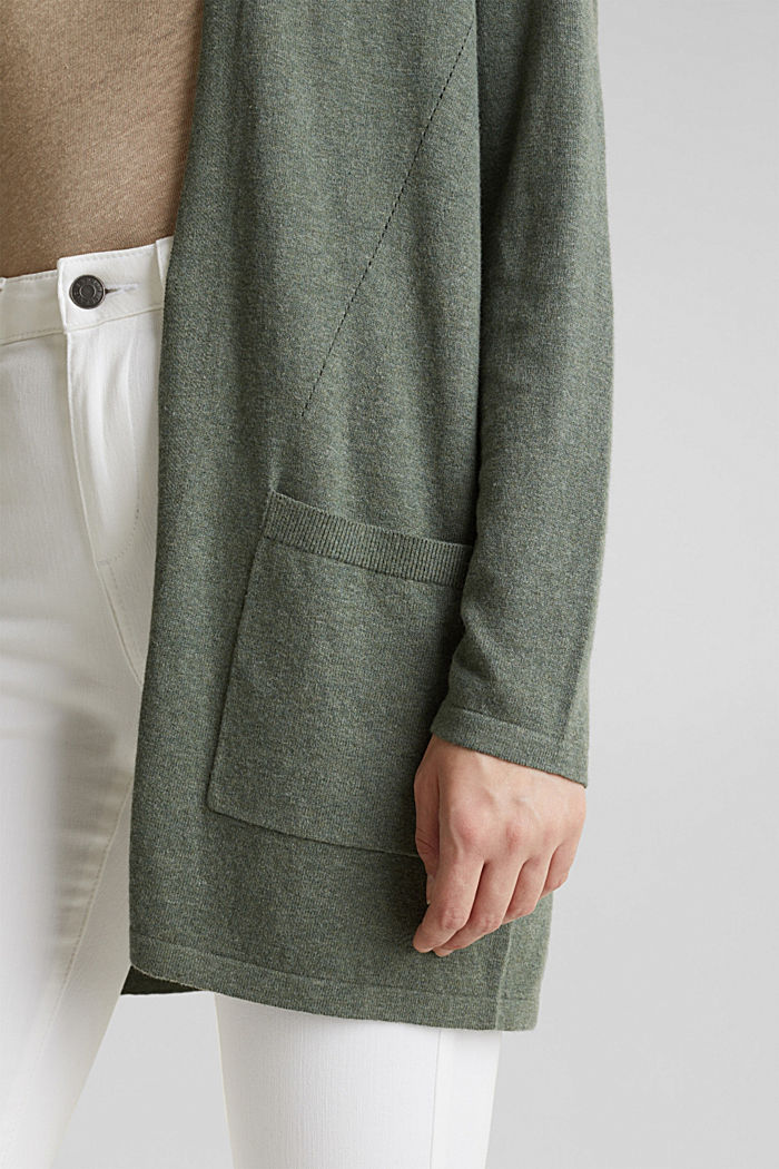 With linen: open cardigan with open-work pattern details, KHAKI GREEN, detail image number 5