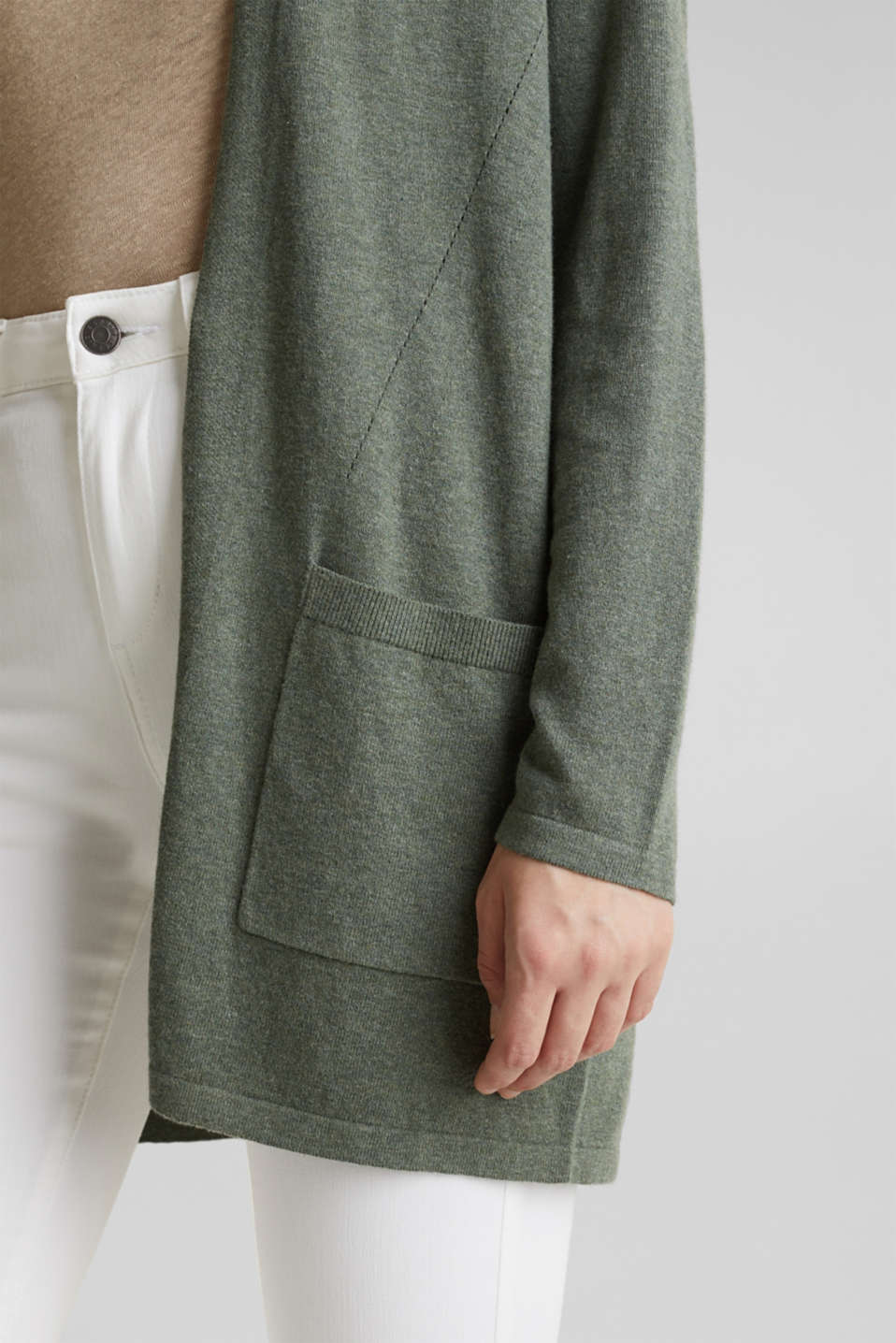 With linen: open cardigan with open-work pattern details, KHAKI GREEN 5, detail image number 5
