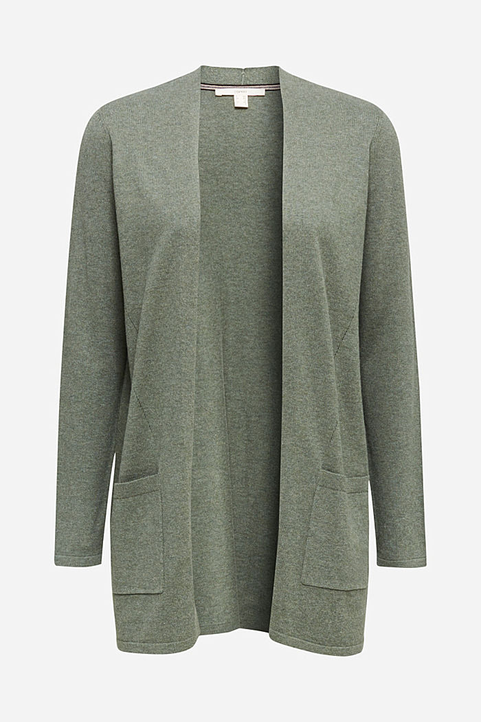 With linen: open cardigan with open-work pattern details, KHAKI GREEN, detail image number 6