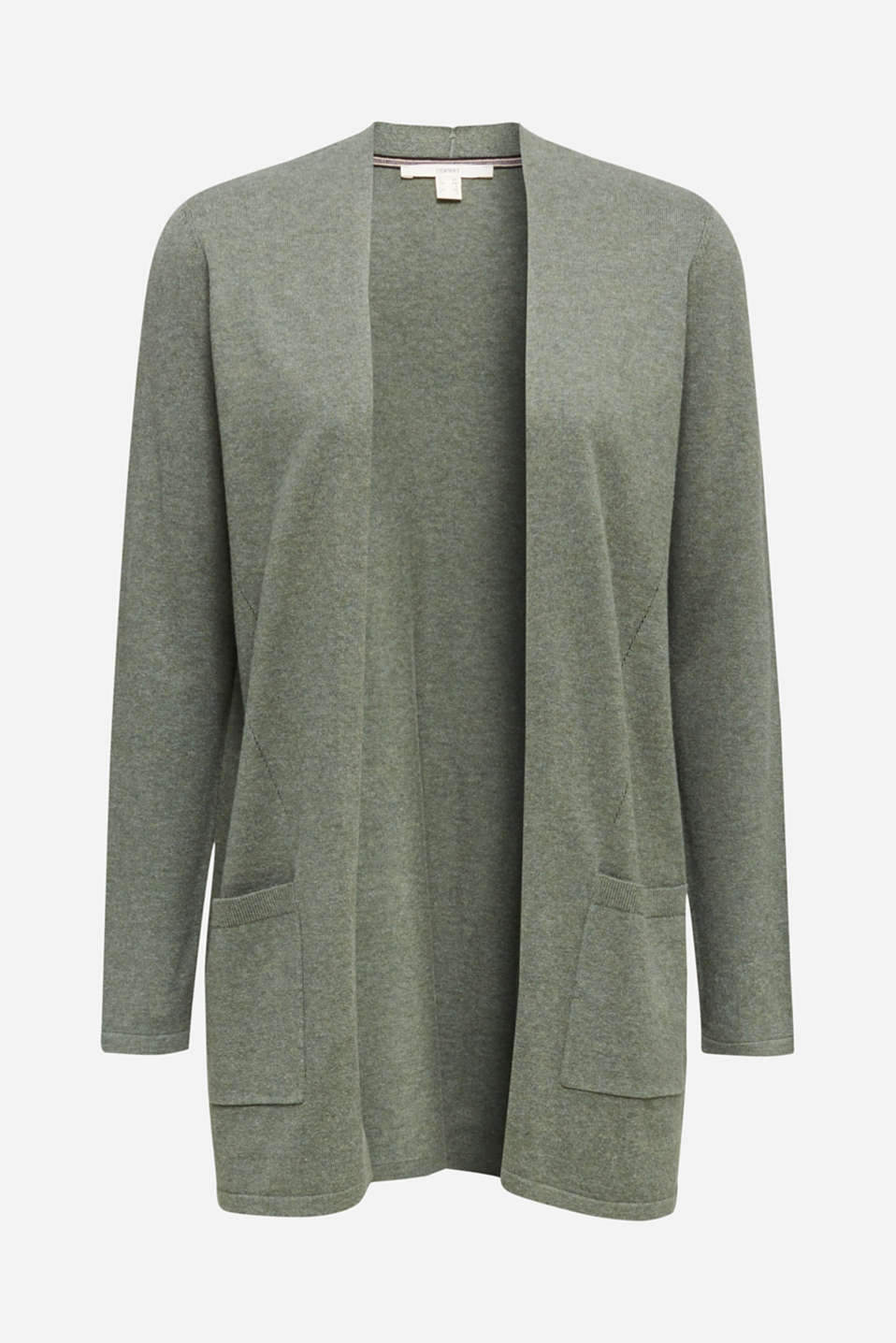 With linen: open cardigan with open-work pattern details, KHAKI GREEN 5, detail image number 6