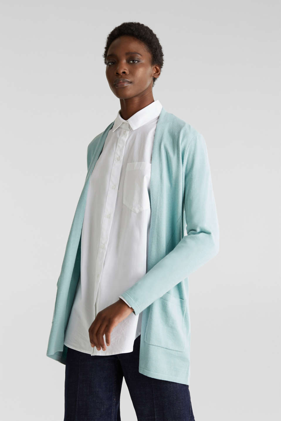 With linen: open cardigan with open-work pattern details, LIGHT AQUA GREEN, detail image number 0