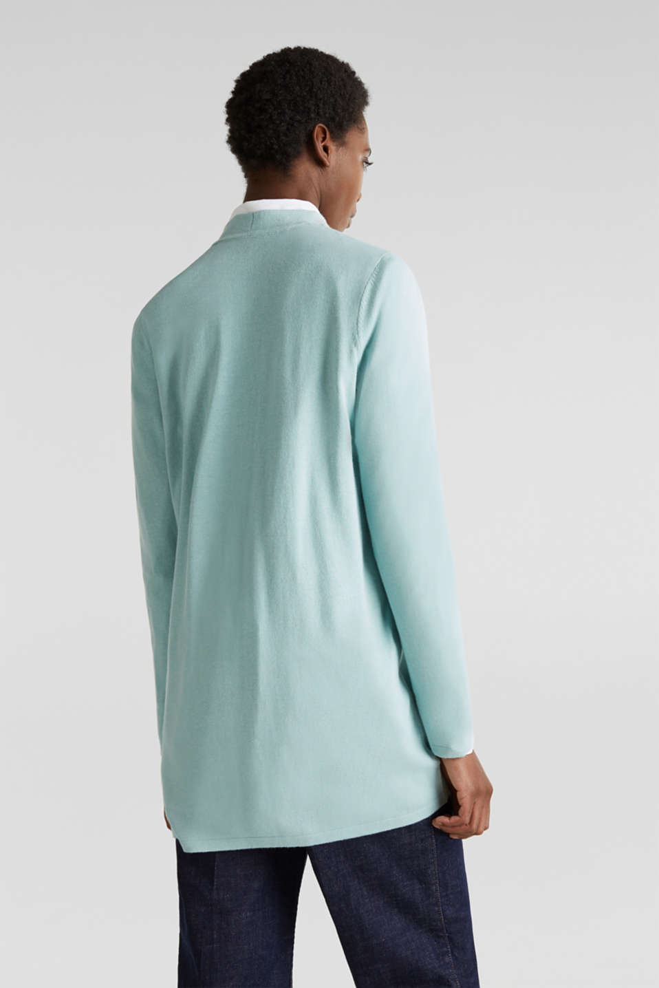 With linen: open cardigan with open-work pattern details, LIGHT AQUA GREEN, detail image number 2
