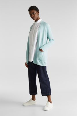 With linen: open cardigan with open-work pattern details, LIGHT AQUA GREEN, detail