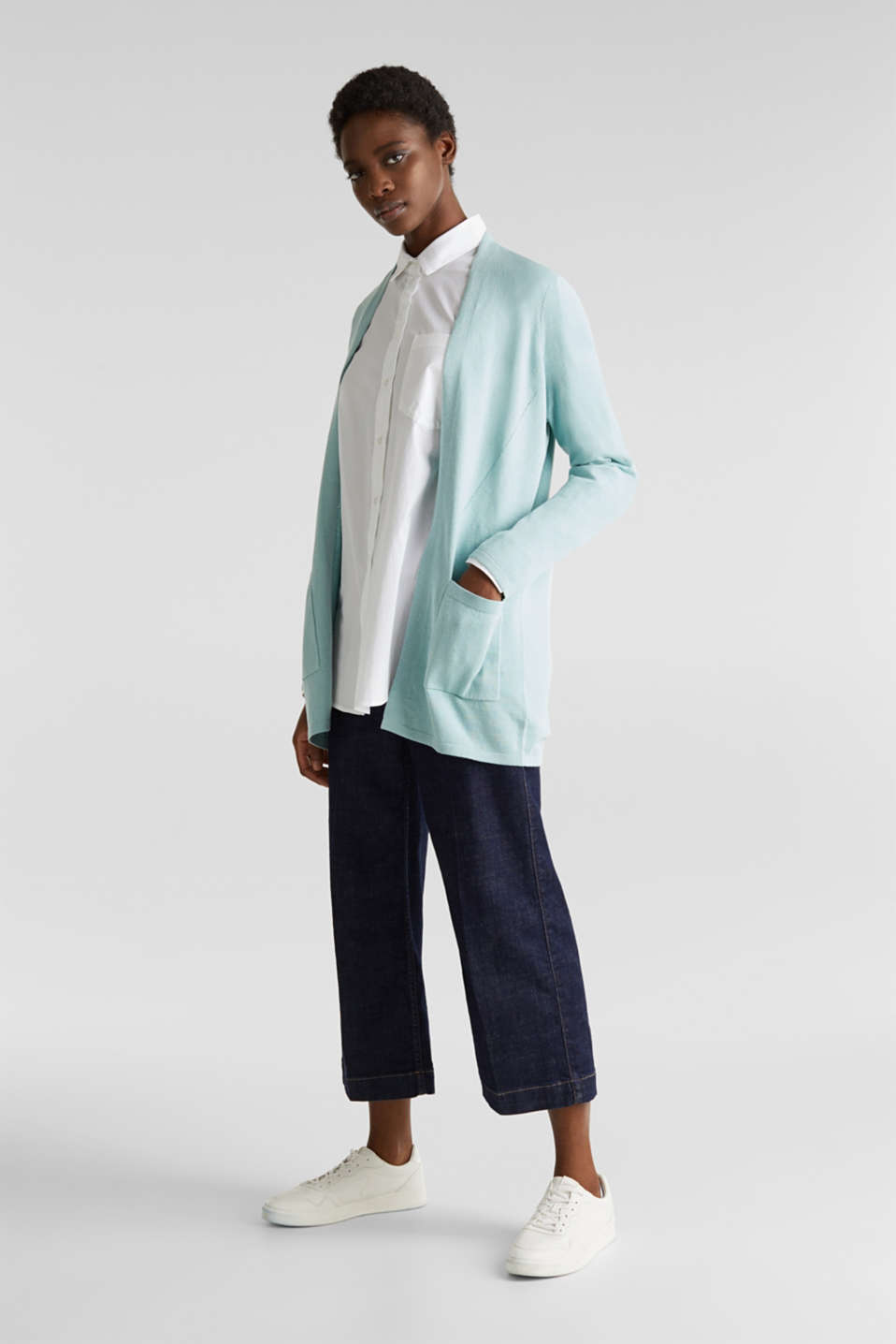 With linen: open cardigan with open-work pattern details, LIGHT AQUA GREEN, detail image number 1