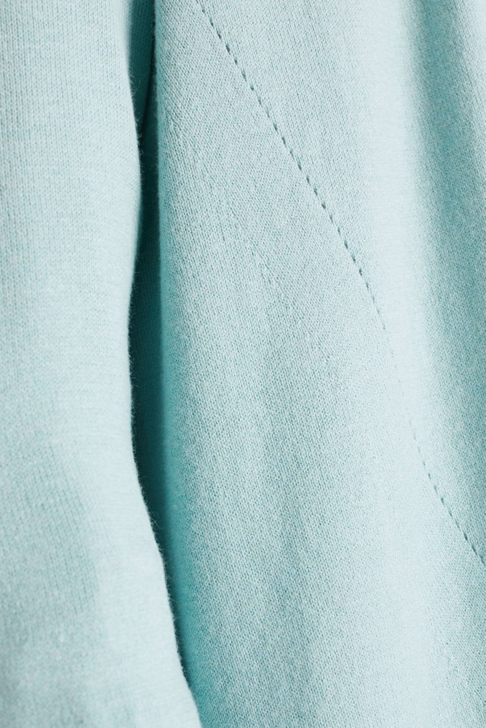 With linen: open cardigan with open-work pattern details, LIGHT AQUA GREEN, detail image number 3