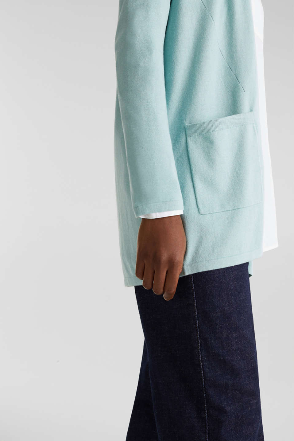 With linen: open cardigan with open-work pattern details, LIGHT AQUA GREEN, detail image number 4