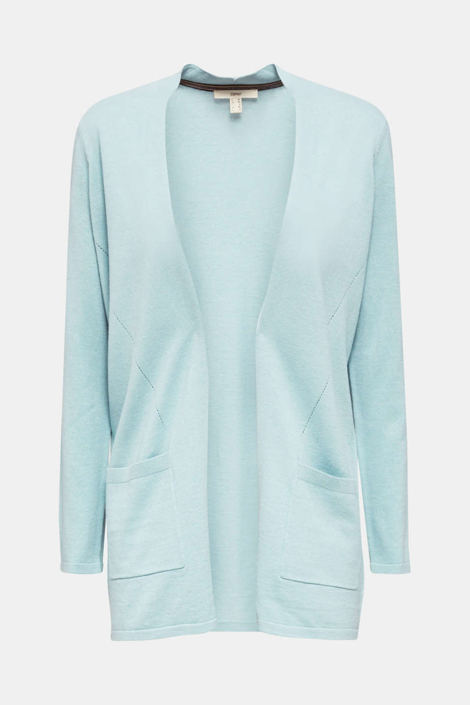 With linen: open cardigan with open-work pattern details, LIGHT AQUA GREEN, detail image number 5