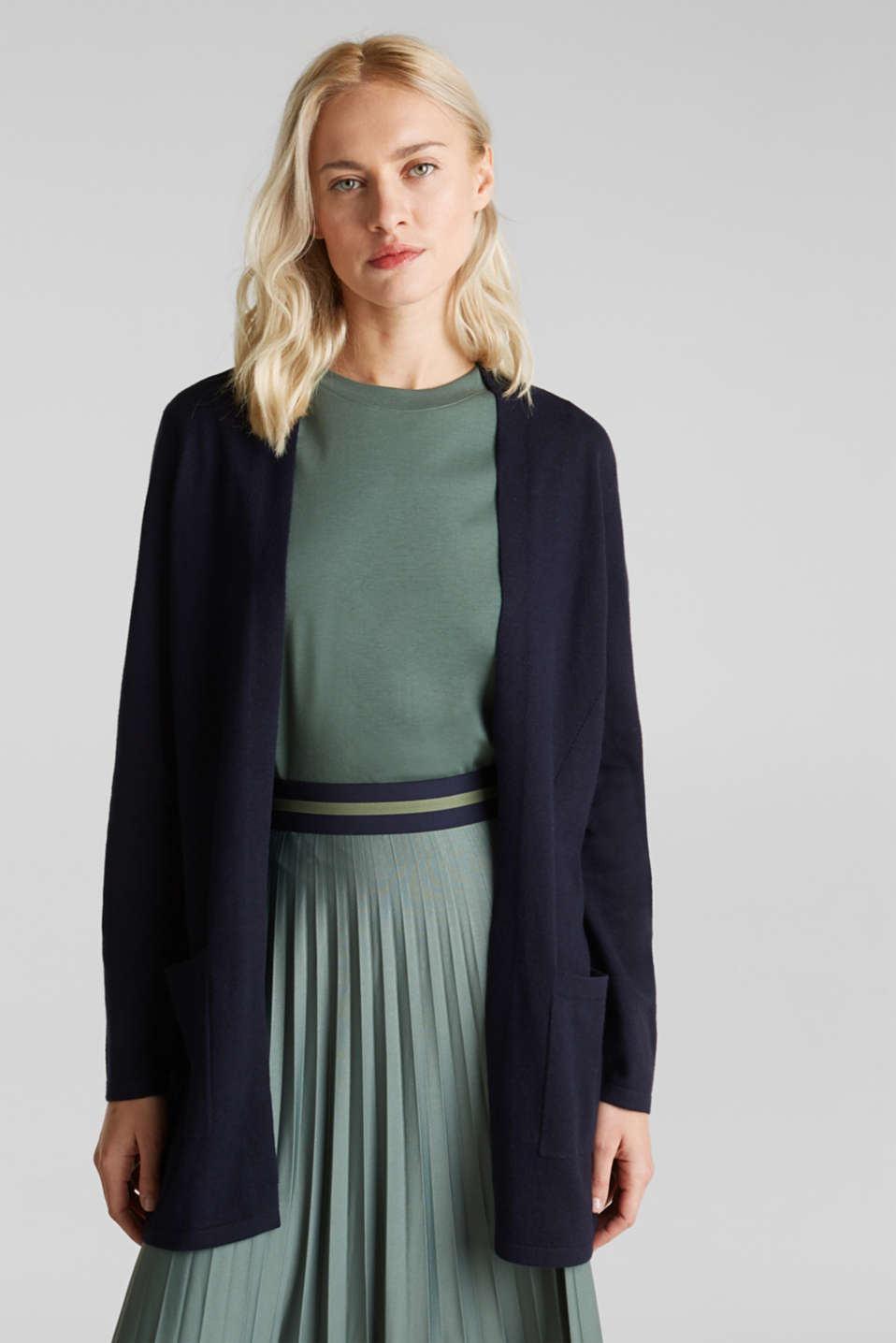 With linen: open cardigan with open-work pattern details, NAVY, detail image number 0