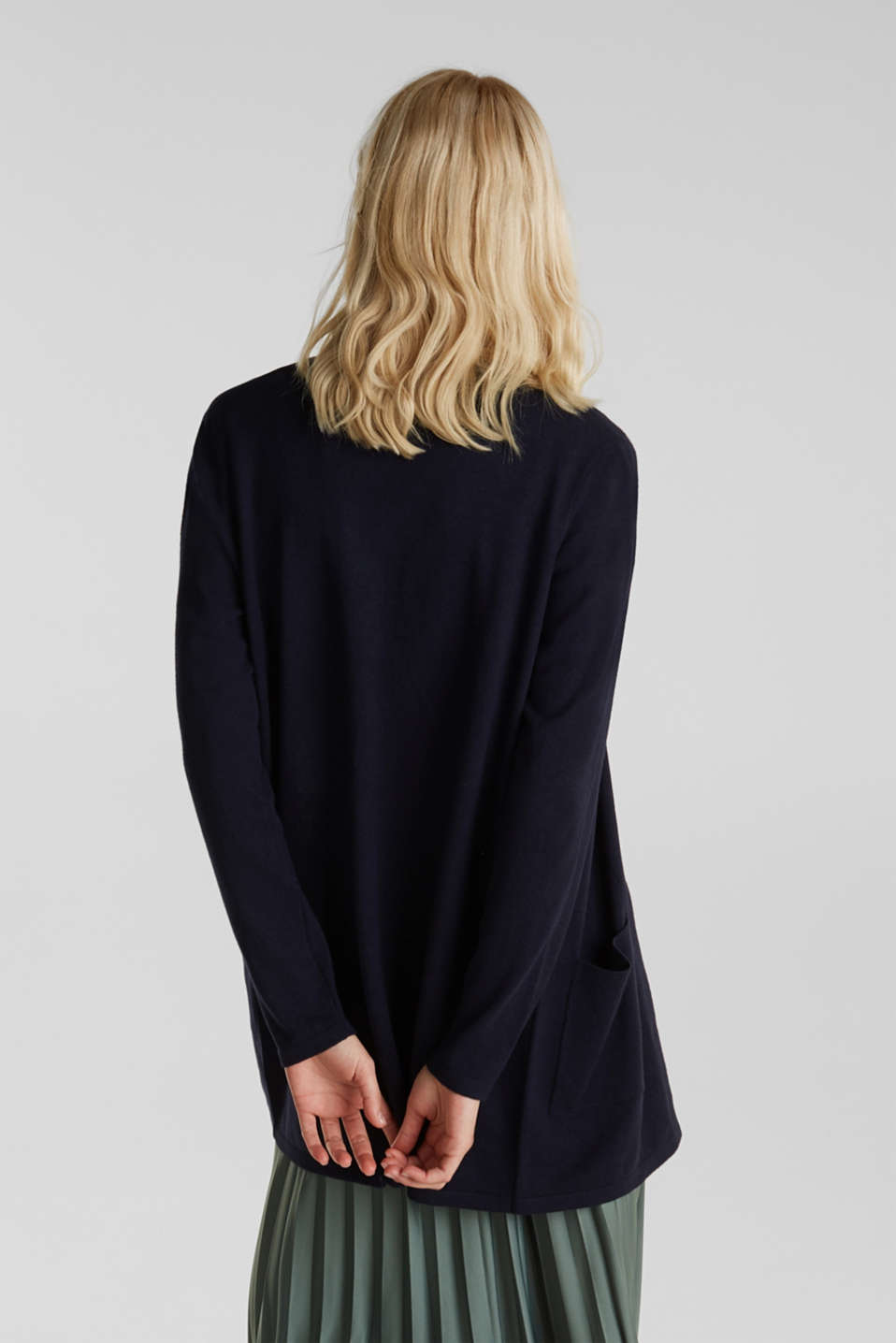 With linen: open cardigan with open-work pattern details, NAVY, detail image number 2
