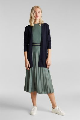 With linen: open cardigan with open-work pattern details, NAVY, detail