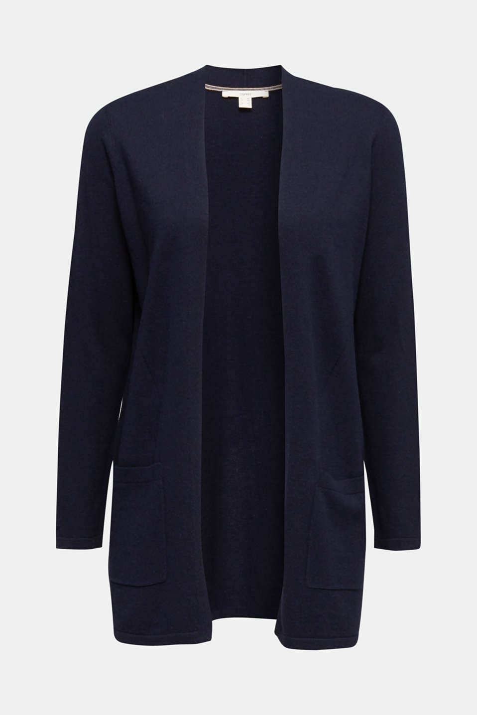 With linen: open cardigan with open-work pattern details, NAVY, detail image number 6