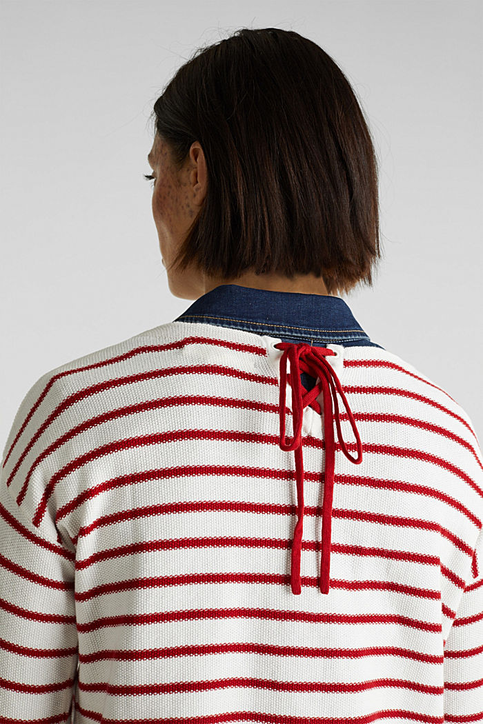 Lace-up detail jumper, 100% cotton