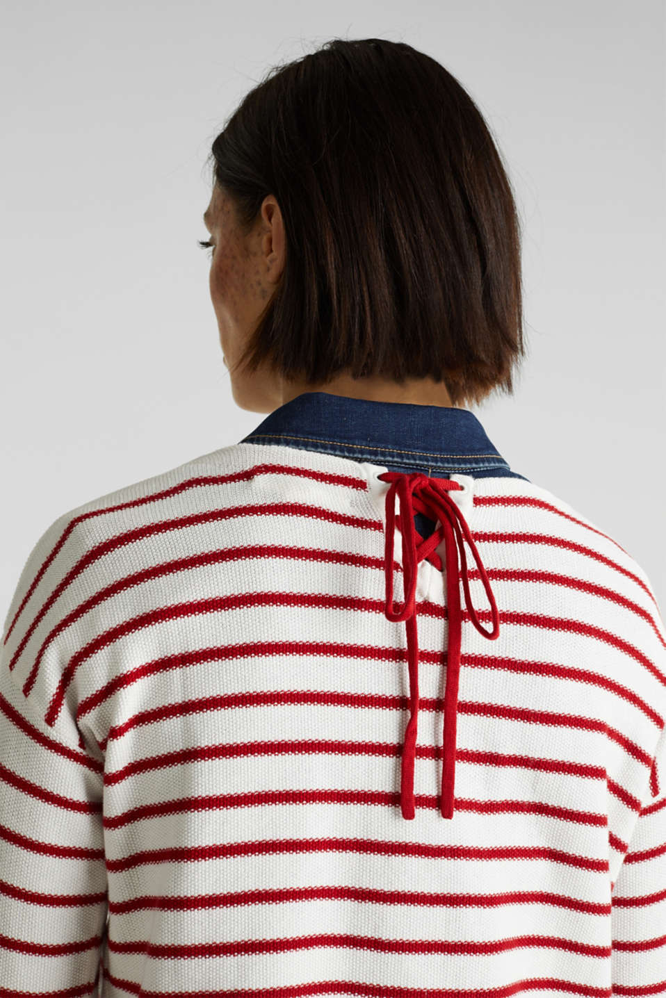 Lace-up detail jumper, 100% cotton, OFF WHITE 3, detail image number 2