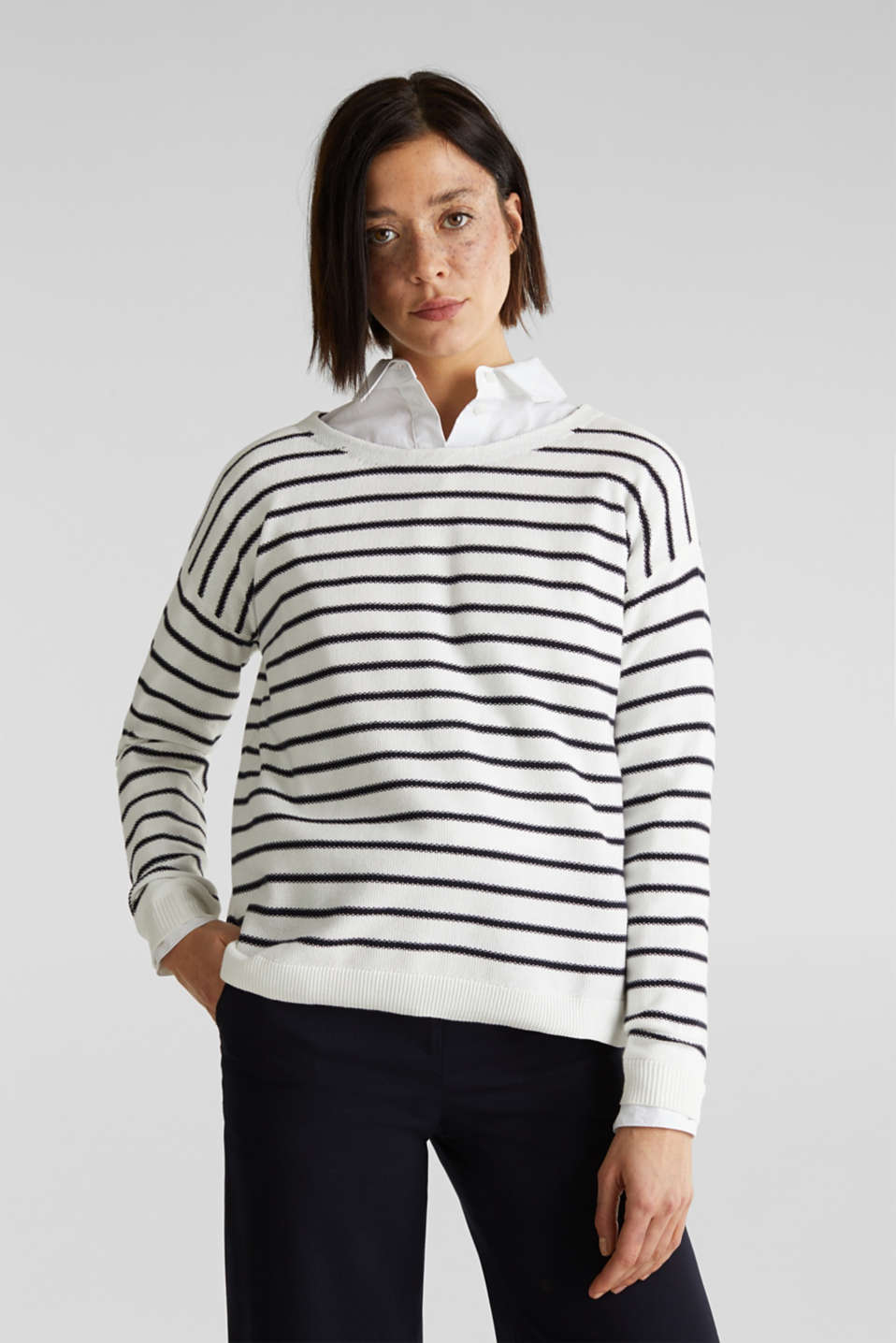 Lace-up detail jumper, 100% cotton, OFF WHITE 4, detail image number 0