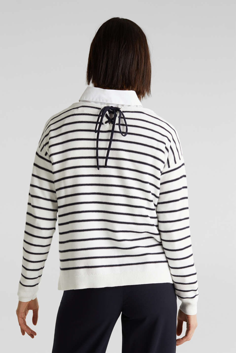 Lace-up detail jumper, 100% cotton, OFF WHITE 4, detail image number 2