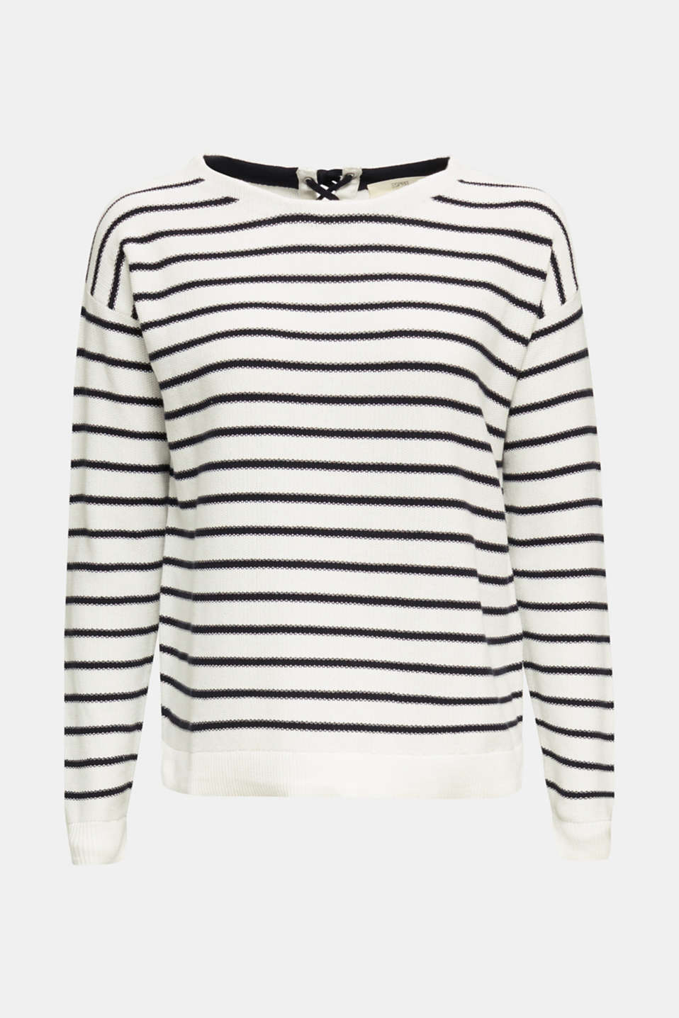 Lace-up detail jumper, 100% cotton, OFF WHITE 4, detail image number 5