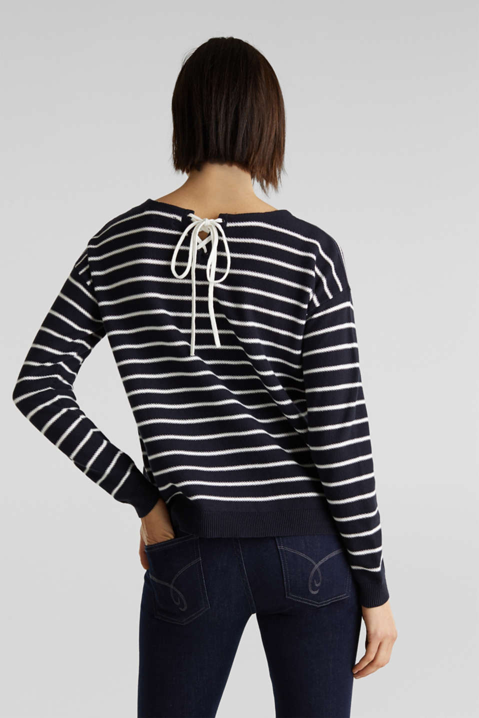Lace-up detail jumper, 100% cotton, NAVY 4, detail image number 3