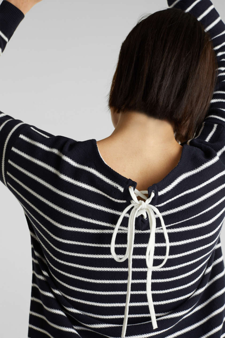 Lace-up detail jumper, 100% cotton, NAVY 4, detail image number 2