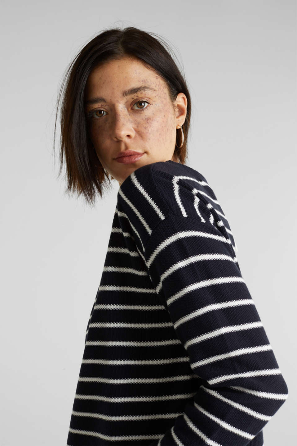 Lace-up detail jumper, 100% cotton, NAVY 4, detail image number 6
