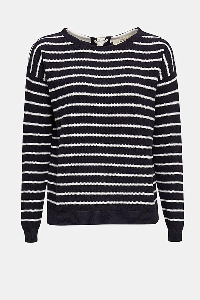 Pullover mit Schnür-Details, 100% Baumwolle, NAVY, detail image number 7