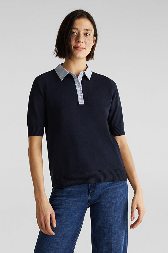 Short-sleeved jumper with a fabric collar, NAVY, detail image number 0