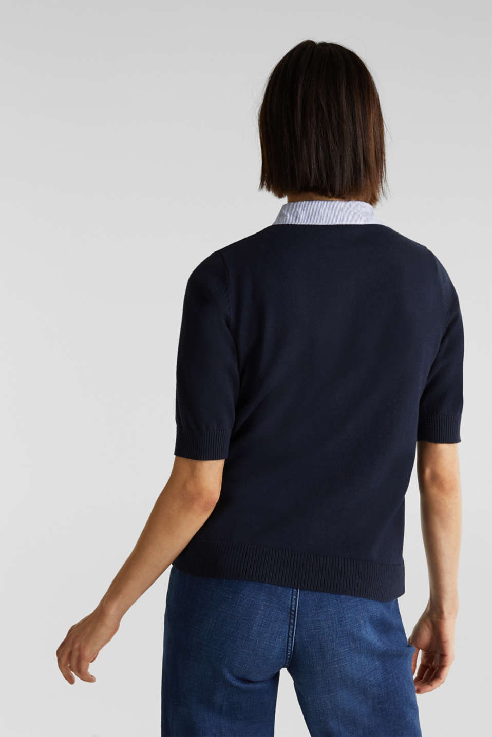 Short-sleeved jumper with a fabric collar, NAVY, detail image number 3