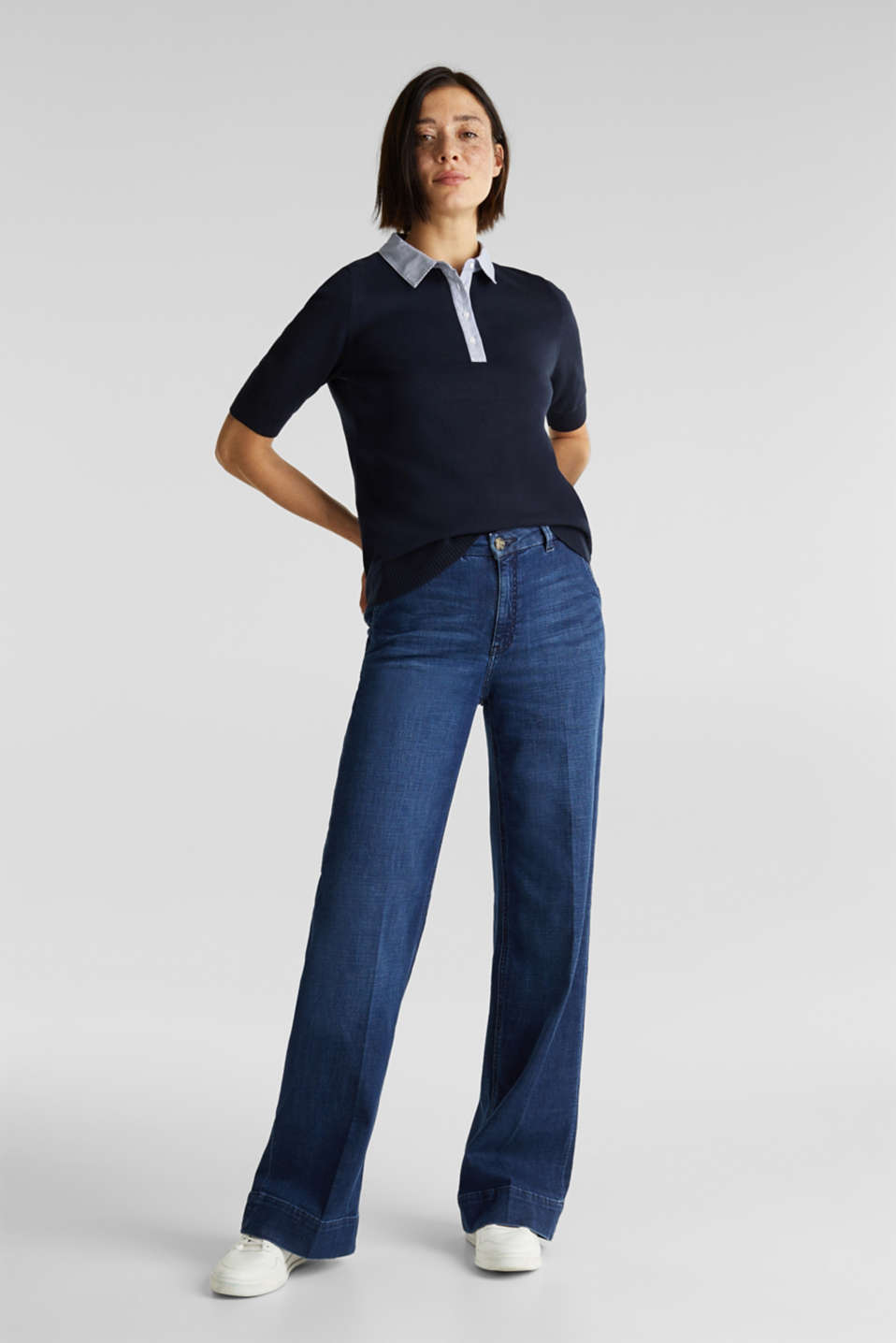 Short-sleeved jumper with a fabric collar, NAVY, detail image number 1