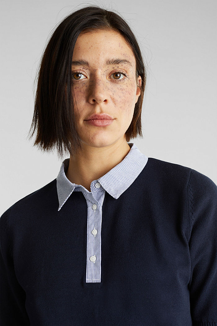 Short-sleeved jumper with a fabric collar, NAVY, detail image number 2