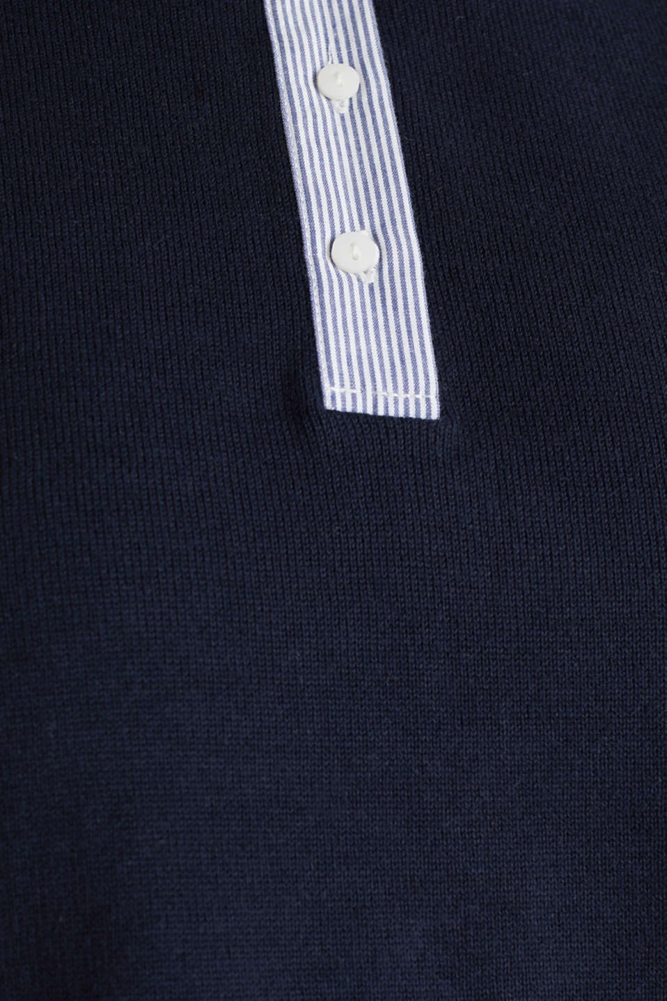 Short-sleeved jumper with a fabric collar, NAVY, detail image number 4