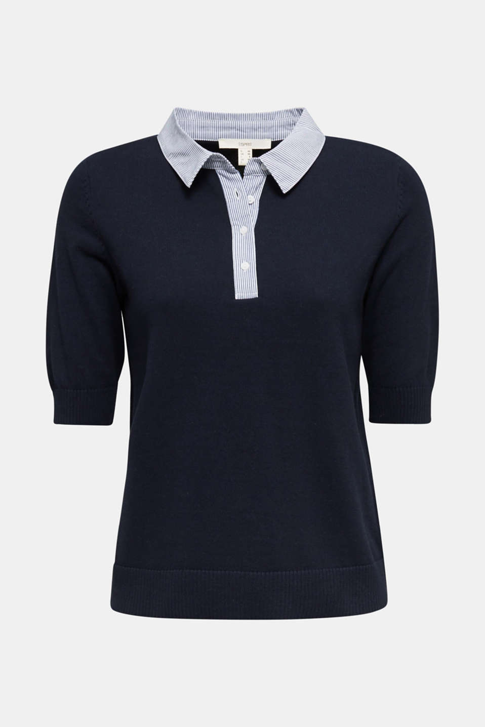 Short-sleeved jumper with a fabric collar, NAVY, detail image number 5