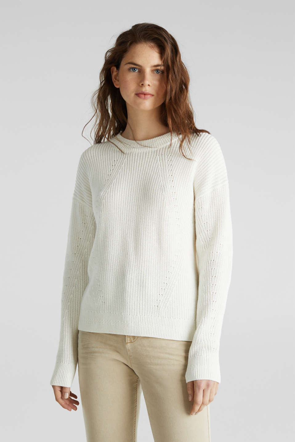 Jumper with textured details, 100% cotton, OFF WHITE, detail image number 0