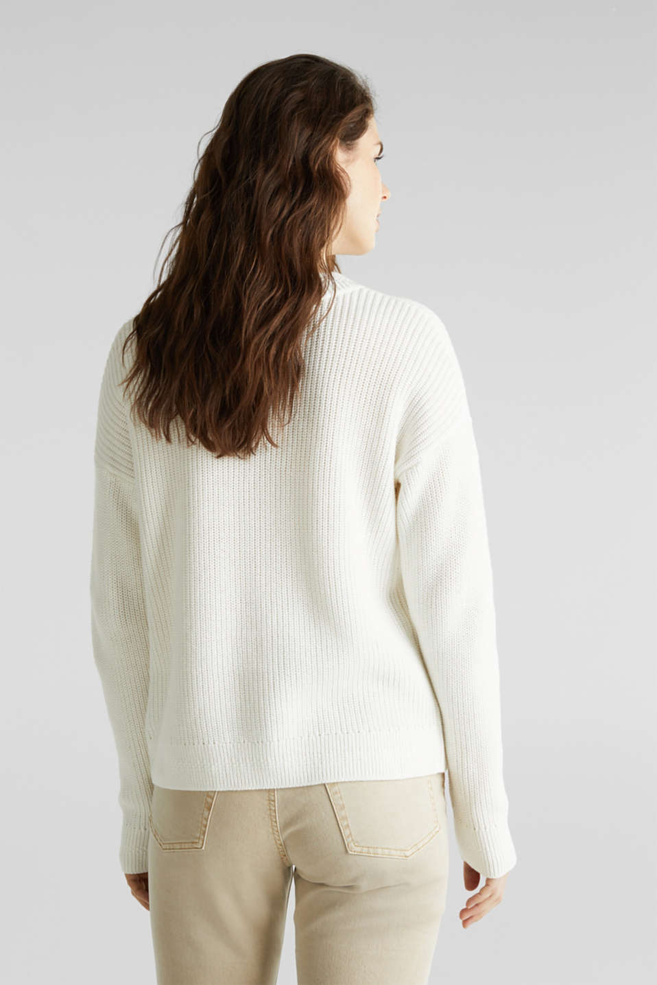 Jumper with textured details, 100% cotton, OFF WHITE, detail image number 2