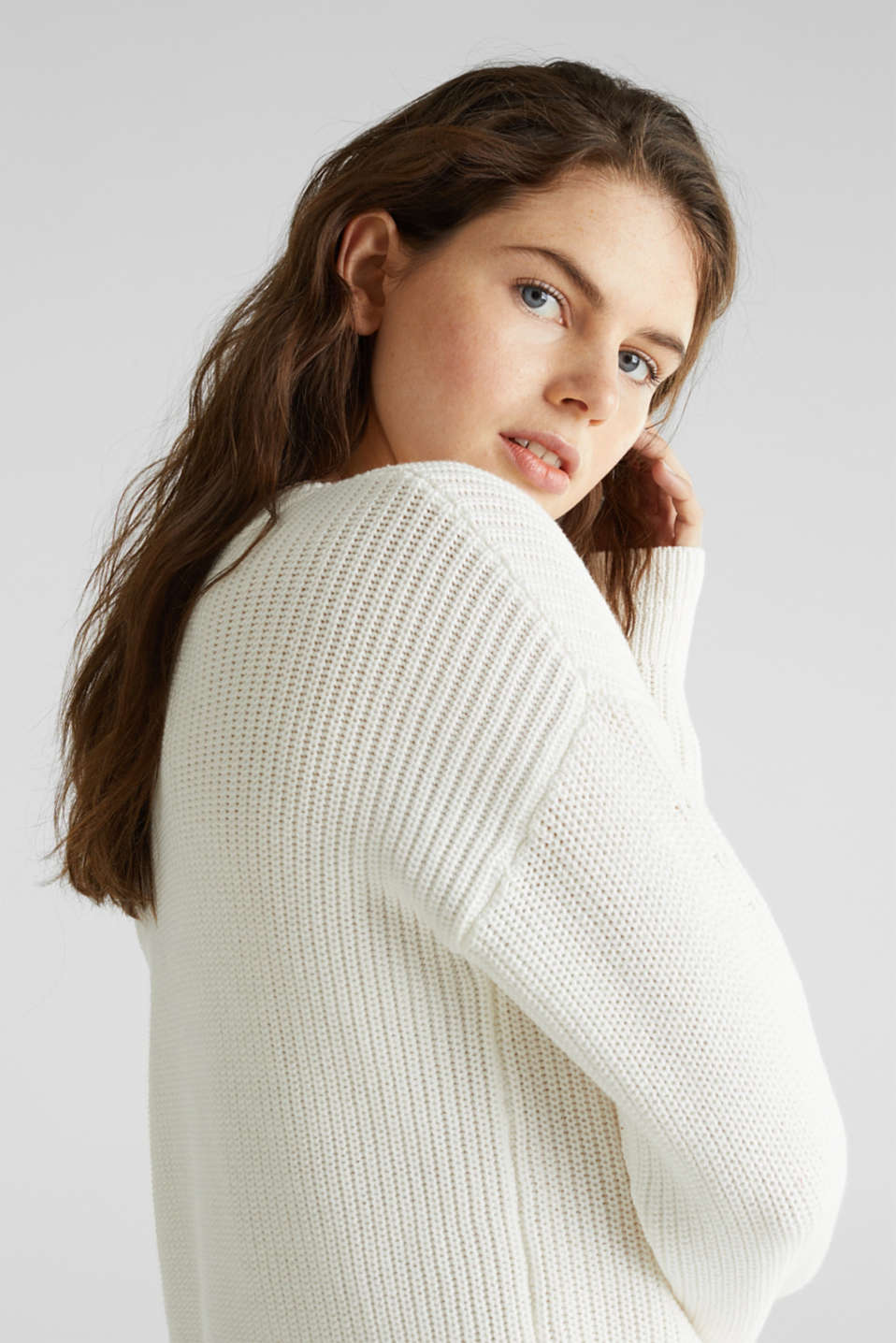 Jumper with textured details, 100% cotton, OFF WHITE, detail image number 4