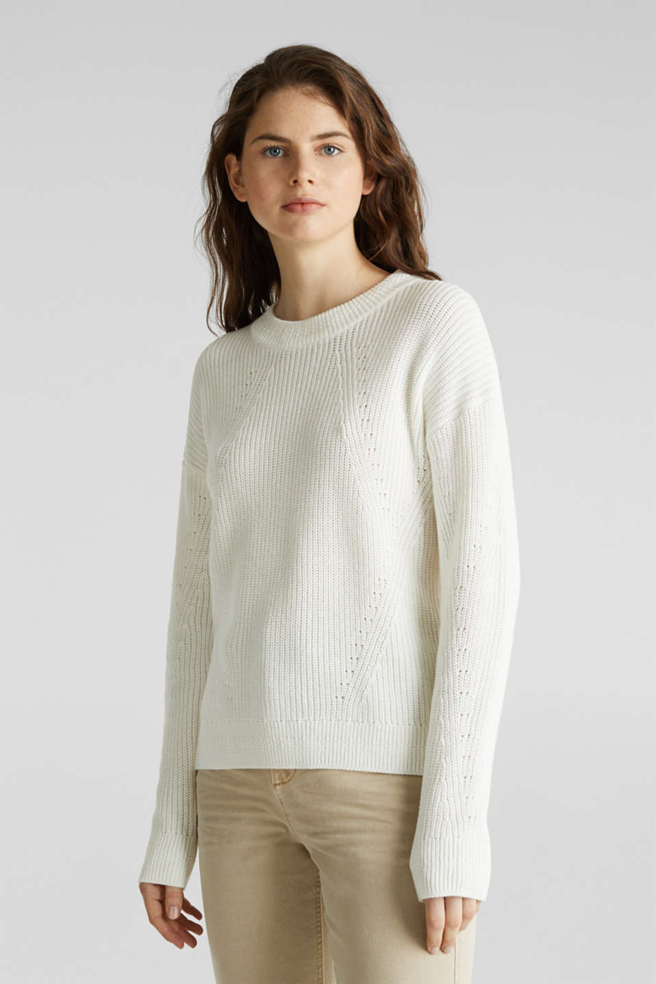 Jumper with textured details, 100% cotton, OFF WHITE, detail image number 6