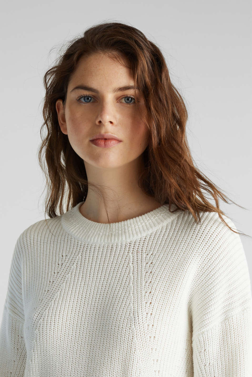 Jumper with textured details, 100% cotton, OFF WHITE, detail image number 5