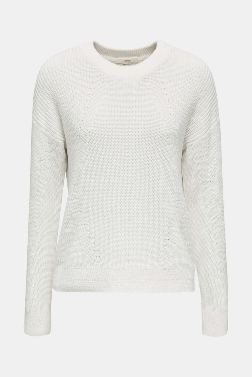 Jumper with textured details, 100% cotton, OFF WHITE, detail image number 7