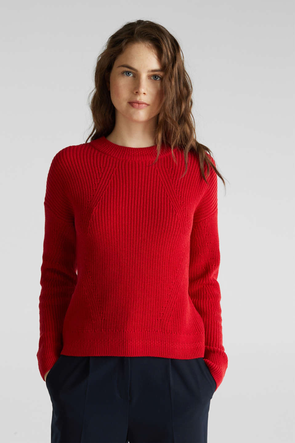 Esprit - Jumper with textured details, 100% cotton