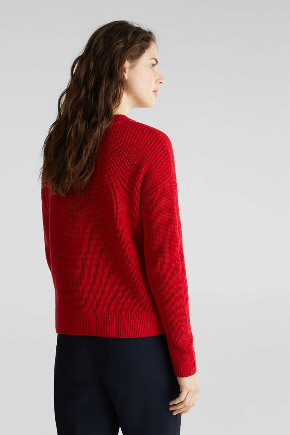 Jumper with textured details, 100% cotton, DARK RED, detail image number 2